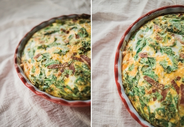 Light Crustless Spinach and Turkey Bacon Quiche 2